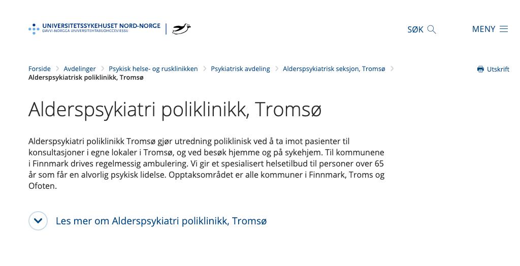 Alderspsykiatri poliklinikk, Tromsø
